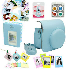 Fuji Fujifilm Instax Mini8 Instant Camera Set Bag Lens Album Sticker Border Blue