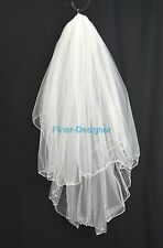 Vintage Tulle Bridal veil First Communion Pearls Wedding White fingertip double