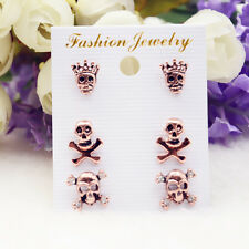 6Pcs/set Women Stylish Skull Design Mini Rhinestone Earring Bronze Ear Nail