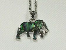 Beautiful Natural Abalone Paua Shell Elephant Pendant Necklace On Chain