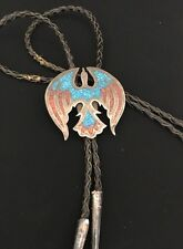 Vintage Old Pawn Native American Sterling Turquoise Coral Inlay Bolo Tie