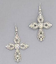 "2"" CROSS BLING RHINESTONE CRYSTAL WESTERN COWGIRL SPIRITUAL JEWELRY EARRINGS"