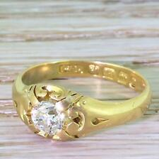 VICTORIAN OLD CUT DIAMOND SOLITAIRE RING - 18k Gold - BIRMINGHAM, dated 1889