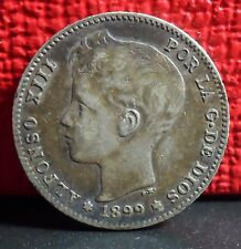 Very Nice Better Grade Spain 1899 UNA Peseta Alfonso XIII Silver Coin