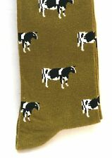 Dairy Cow Freisian Holstein Mens  Socks on Light Green Background Farming Gift
