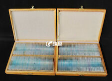 200pcs Student Basic Science Prepared Microscope Slides and Storage Wooden Box