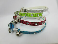 4X Pet Cat Kitten Collar Diamante Studded Buckle,Safety Elastic & Bell BIOTHANE
