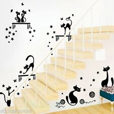 CAT CARTOON ANIMALS BLACK STICKERS PLAYROOM WALL ART STICKERS HOME DECORATION