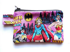 DC Comics Wallet Zipper Pouch Superhero Wonder Woman Bat Super Girl Coin Purse
