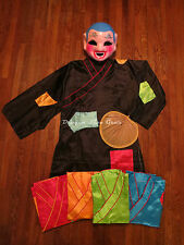 Lion Dance Drunken Monk Mask, Robe with multi color patches and Palm Leaf Fan