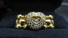 Chopard Happy Diamond 18k Yellow Gold Heart Panter Chain Flex Band Ring Size 5.0