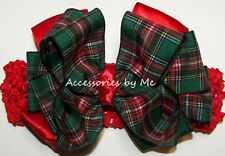 Plaid Bow Headband Red Green Scottish Tartan Baby Infant Fancy Wedding Party
