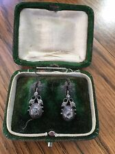 Early Georgian 1800's Diamond set in silver with 14k gold wires and backs w/ box