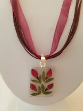16 Inch Red Ribbon And Leather Cord Necklace With Red Flower Pendant