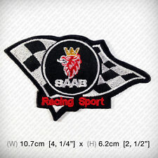 SAAB Racing Sport EMBROIDERED PATCH IRON ON, SEW Victory Checkered flag WINNER