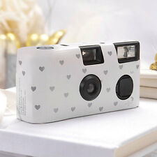 10 White Silver Heart Disposable Wedding Table Camera Cameras Lot Q17294
