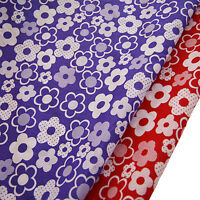 Floral Polycotton Fabric Daisy BIG FLOWER Material Metre Craft Red Purple Dress