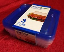 3 Sandwich Box Storage Container Lunch Reusable Snack Pack Food Keeper BPA FREE