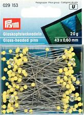 Prym Extra Long Glass Headed Pins 0.60x43mm - 20grams Yellow colour Art 029153