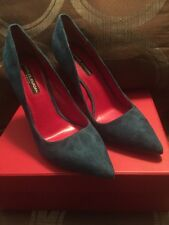 CHARLES JOURDAN Women's Teal Suede Point Toe Pumps - Size 8.5