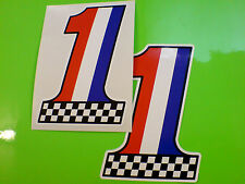 FRANCE Chequered No 1 Car Motorcycle Van Stckers Decals 2 off 102mm
