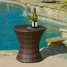 Outdoor Patio Furniture Contemporary Brown PE Wicker Hourglass Accent Table