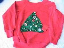 CHRISTMAS TREE PULLOVER SWEATSHIRT~Size Adult X-Large with ornaments CROCH TREE