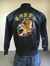 KOREA SUKAJAN JACKET Vtg SATIN Embroidered Sewn Tiger Tourist Coat Blue M/L