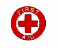 First Aid Red Cross Lapel Collar Pin Device Nickel Trim Clutch Backs 69S2 New