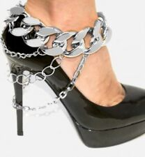 Silver Chunky Link Curb Drape Shoe Chain Jewelry Ankle High Heel Anklet Boot