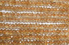 "13"" CITRINE 3.5mm Micro-Faceted Rondelle Beads NATURAL AAA /L2"