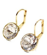 Swarovski Elements Clear Bella Earrings Gold Plated Dangle Earrings Leverback