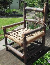 "Vintage Hand Made Twig Arm Chair 8 x 5 x 4.75"" Woven Seat for Doll or Bear"