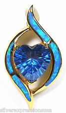 London Blue Topaz Heart, Blue Fire Opal, 18kt Gold Over Sterling Silver Pendant