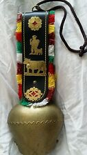Vintage Large Swiss Lausanne Brass Cowbell Leather Strap
