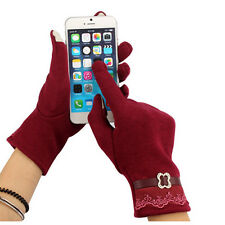 1Pair Fashion Women Touch Screen Lace Cotton Winter Warmer Gloves Cute Style Hot