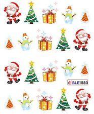 Navidad Santa Muñeco De Nieve árbol de Navidad Regalos Nail Art de transferencia de Agua Decal Sticker