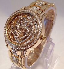 Women Ladies Wrist Watch Gold Classic Luxury Metal Strap Diamante Bling Casual