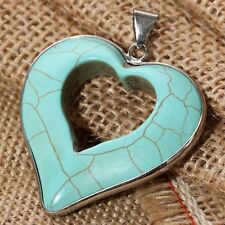 Fashion jewelry Hollow Etched Blue Turquoise Heart Pattern Pendant Necklace