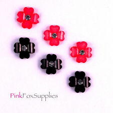 12 RESIN MINI FLOWER FLATBACK CABOCHON EMBELISHMENT CRAFT RHINESTONE DECODEN UK