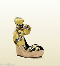 Gucci Carolina Beach Ball Espadrille Wedge Sandals Shoes 38.5 8.5 $770
