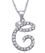 Clear Crystal Cursive Initial Letter C Pendant Necklace Girl Women Jewelry
