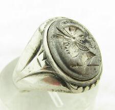 Vintage Art Deco Sterling Silver Hematite Intaglio Mens Ring Sz 10.5