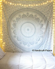 Silver Ombre Mandala Tapestry Hippie Indian Wall Hanging Bedspread Blanket Throw