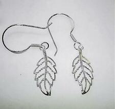 8.5mm Hawaiian Sterling Silver OW Maile Leaf Dangling French Hook Wire Earrings