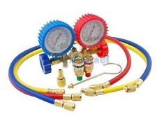 "Manifold Gauges A/C Tester Freon Gas Diagnostic Kit With Quick Couplers 1/4"" SAE"