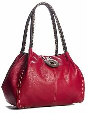 Ladies Red Faux Leather Big Button Shoulder Bag Handbag Available in 9 Colours
