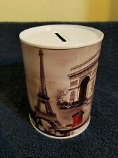 PARIS TIN CAN METAL MONEY COIN BANK  **Cute ~ Great Gift ** Savings Piggy Bank