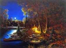 "Still of the Night Lake Canoe Camp Art Print By Jim Hansel  Image Size 16"" x 12"""