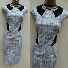 Karen Millen Grey Textured Pattern Jersey Cocktail Wiggle Pencil Dress  SZ-12